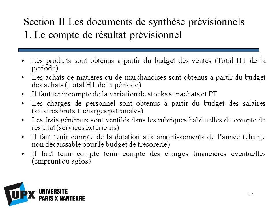 Section II Les documents de synthèse prévisionnels 1