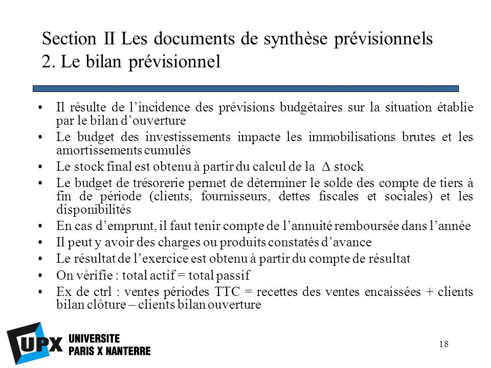 Section II Les documents de synthèse prévisionnels 2