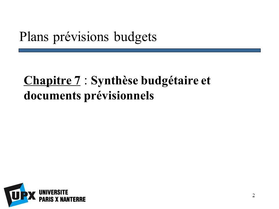 Chapitre 7 : Synthèse budgétaire et documents prévisionnels