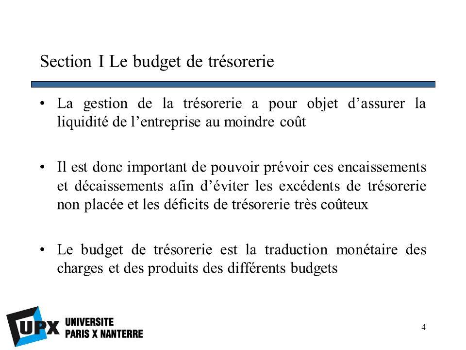 Section I Le budget de trésorerie