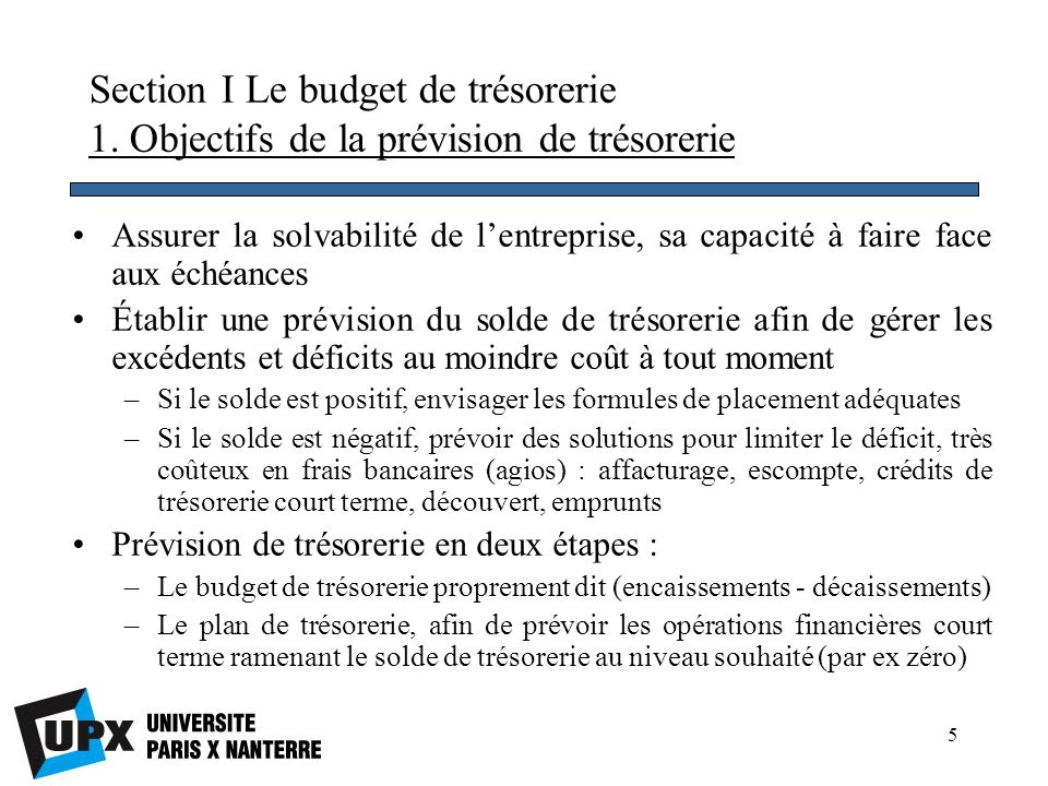Section I Le budget de trésorerie 1