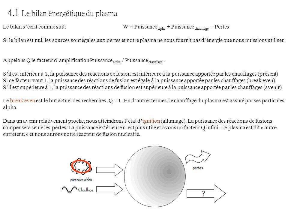 4.1 Le bilan énergétique du plasma