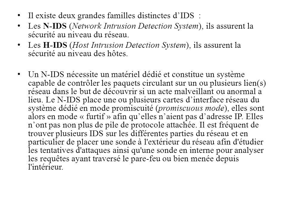 Il existe deux grandes familles distinctes d'IDS :