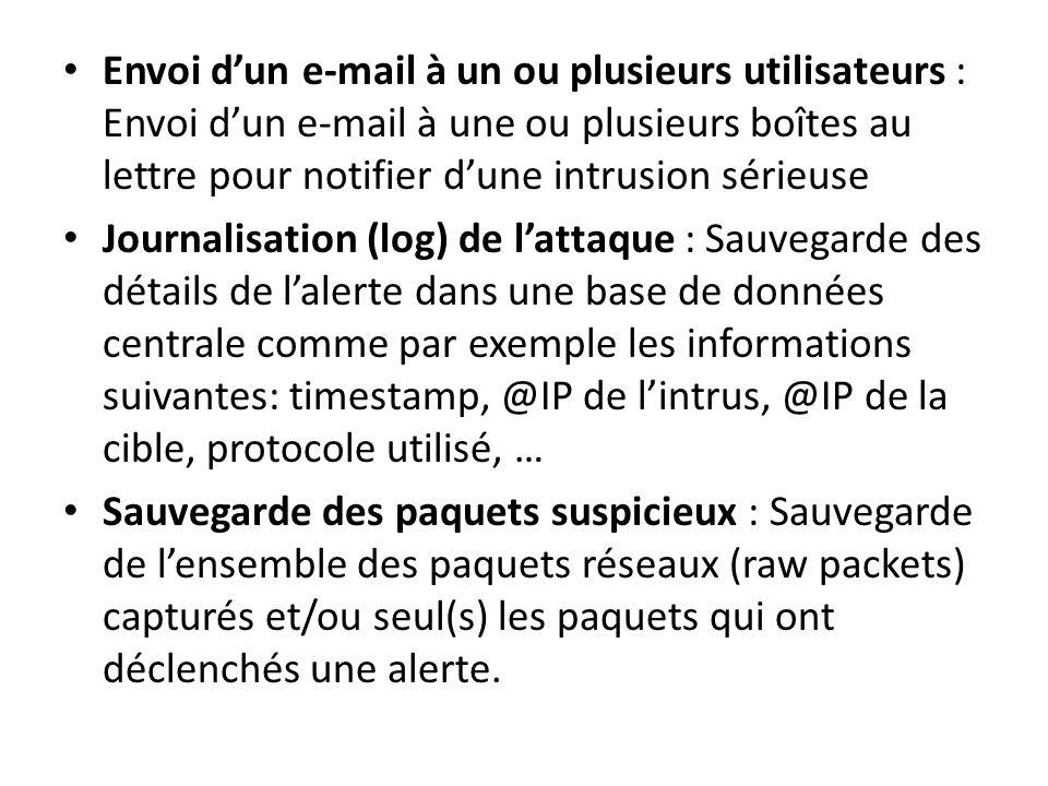 Envoi d'un e-mail à un ou plusieurs utilisateurs : Envoi d'un e-mail à une ou plusieurs boîtes au lettre pour notifier d'une intrusion sérieuse