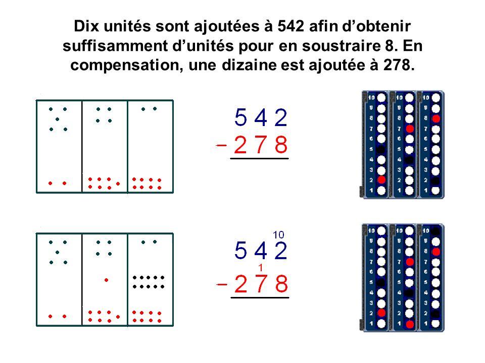 Dix unités sont ajoutées à 542 afin d'obtenir suffisamment d'unités pour en soustraire 8.