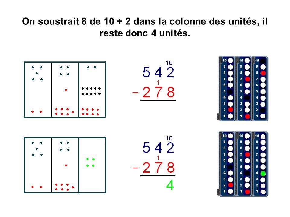 On soustrait 8 de 10 + 2 dans la colonne des unités, il reste donc 4 unités.