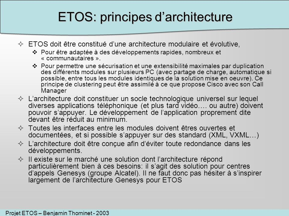 ETOS: principes d'architecture