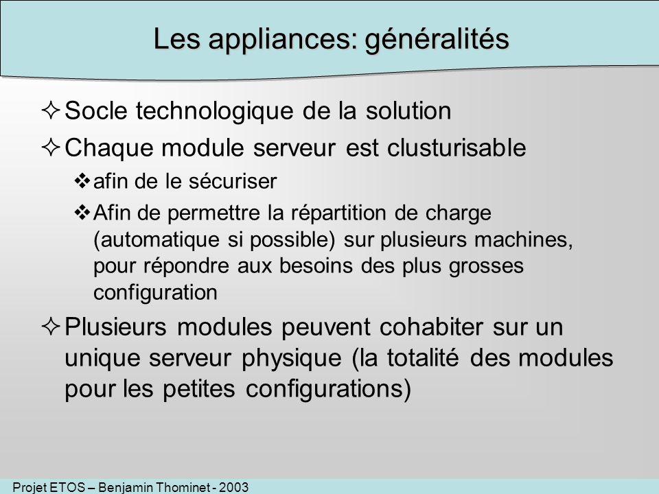Les appliances: généralités