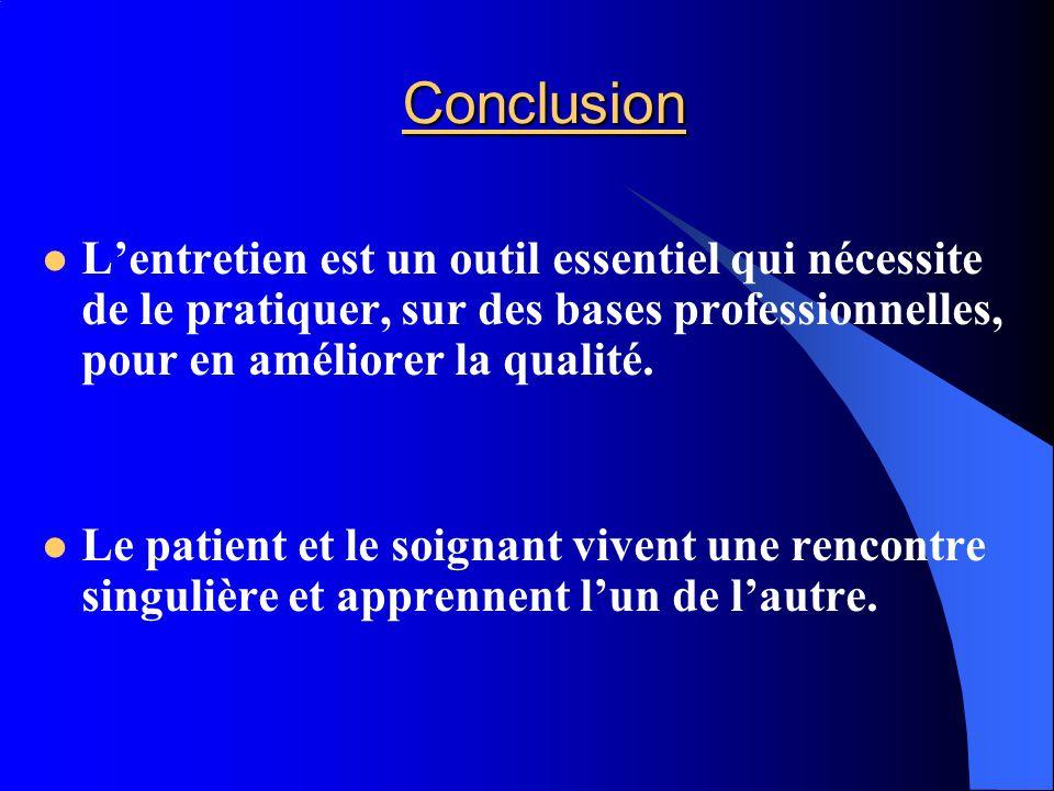 Conclusion L'entretien est un outil essentiel qui nécessite de le pratiquer, sur des bases professionnelles, pour en améliorer la qualité.