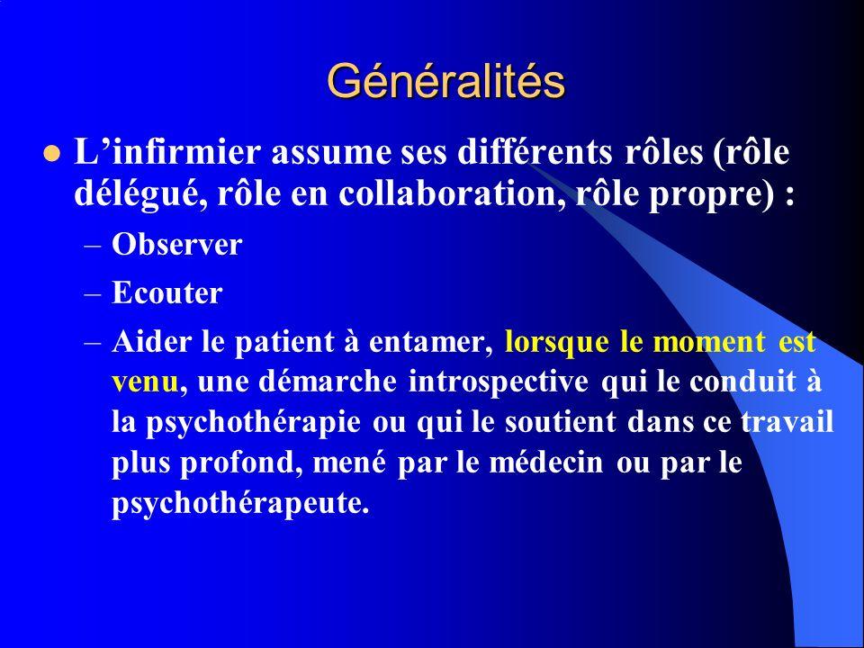 Généralités L'infirmier assume ses différents rôles (rôle délégué, rôle en collaboration, rôle propre) :