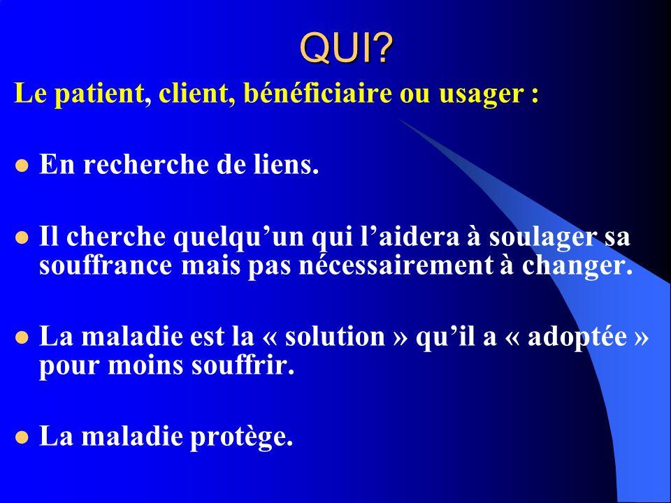 QUI Le patient, client, bénéficiaire ou usager :