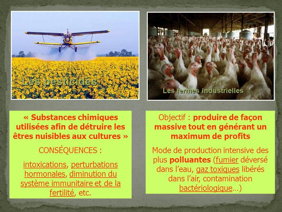 Les pesticides Les fermes industrielles. « Substances chimiques utilisées afin de détruire les êtres nuisibles aux cultures »