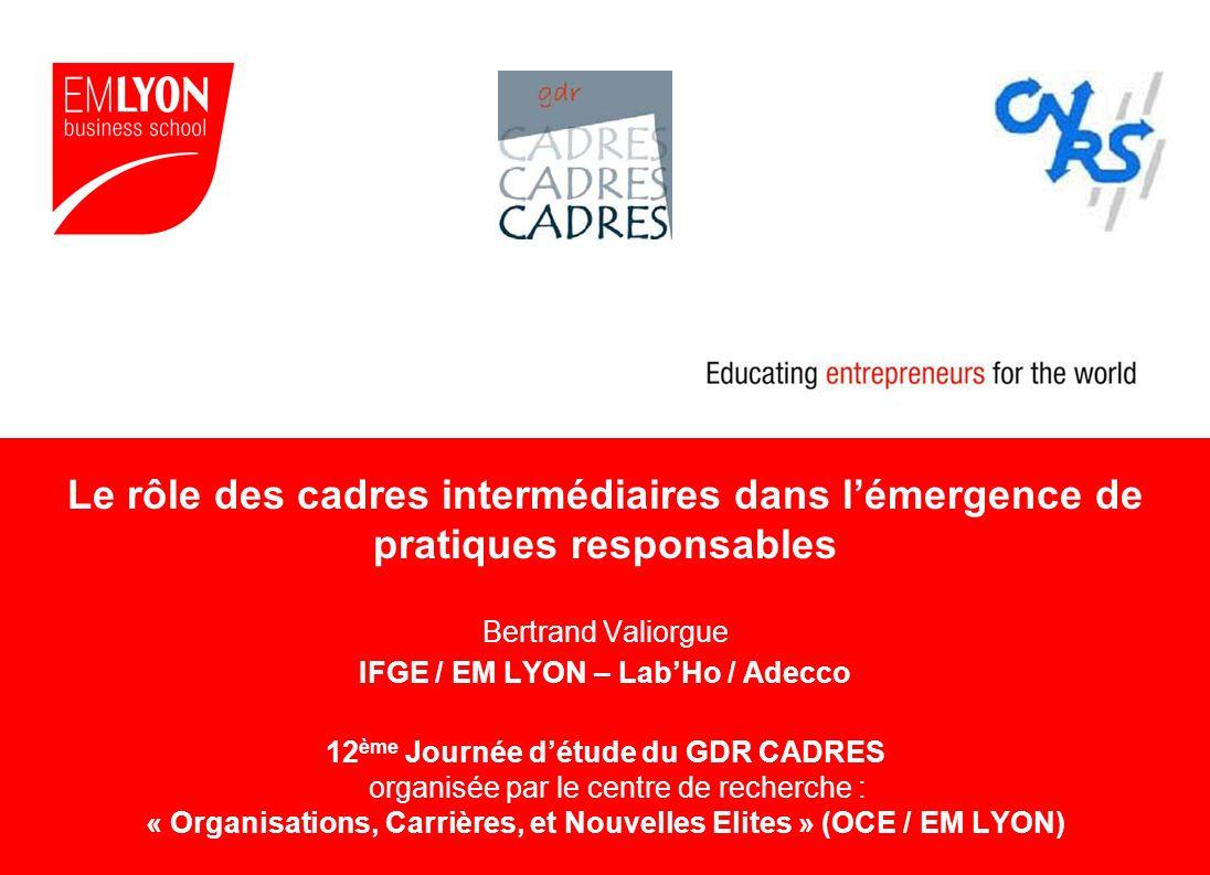 Le rôle des cadres intermédiaires dans l'émergence de pratiques responsables Bertrand Valiorgue IFGE / EM LYON – Lab'Ho / Adecco 12ème Journée d'étude du GDR CADRES organisée par le centre de recherche : « Organisations, Carrières, et Nouvelles Elites » (OCE / EM LYON)