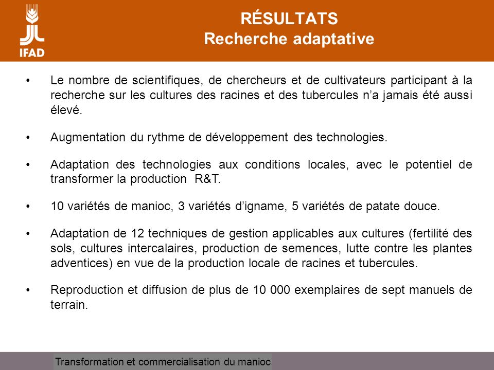 RÉSULTATS Recherche adaptative