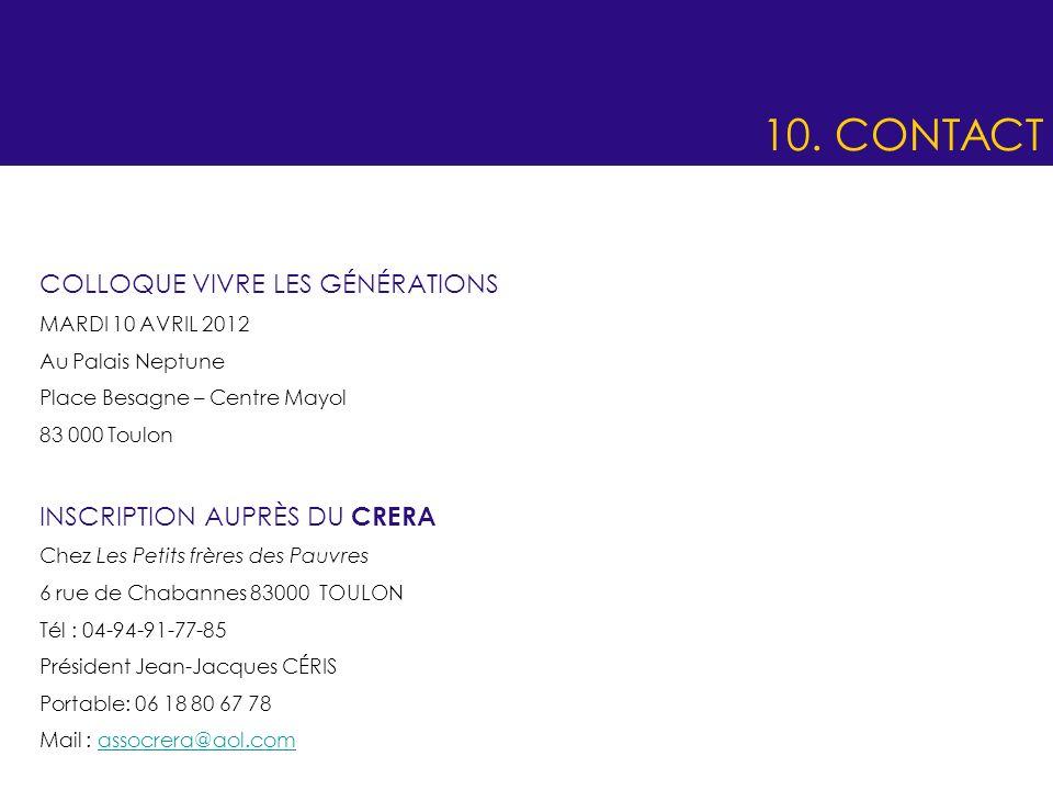 10. CONTACT COLLOQUE VIVRE LES GÉNÉRATIONS INSCRIPTION AUPRÈS DU CRERA