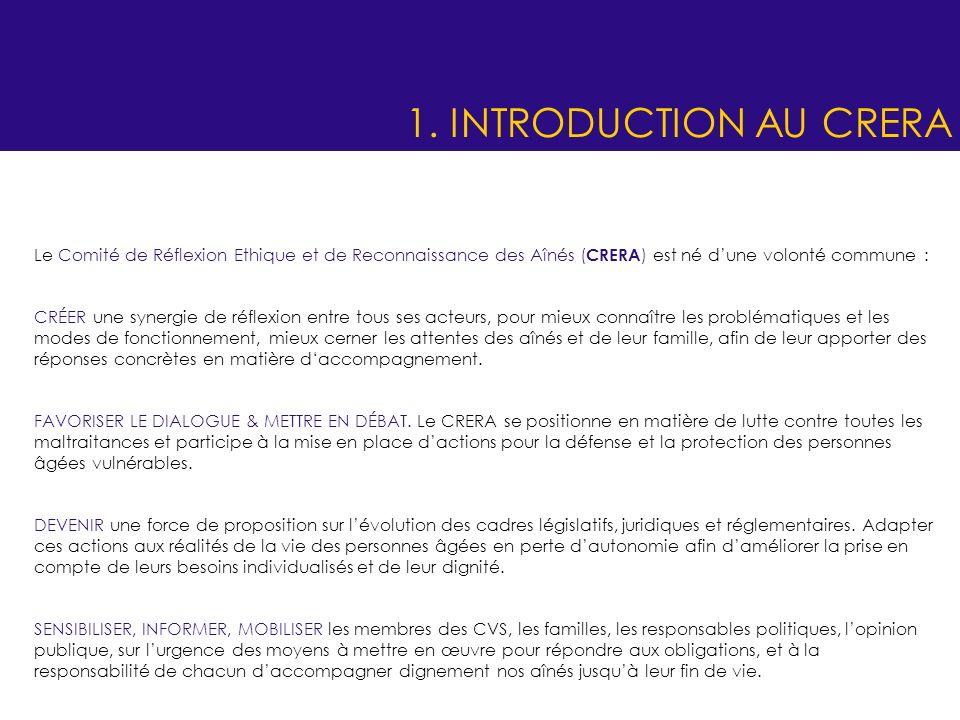 1. INTRODUCTION AU CRERA Le Comité de Réflexion Ethique et de Reconnaissance des Aînés (CRERA) est né d'une volonté commune :