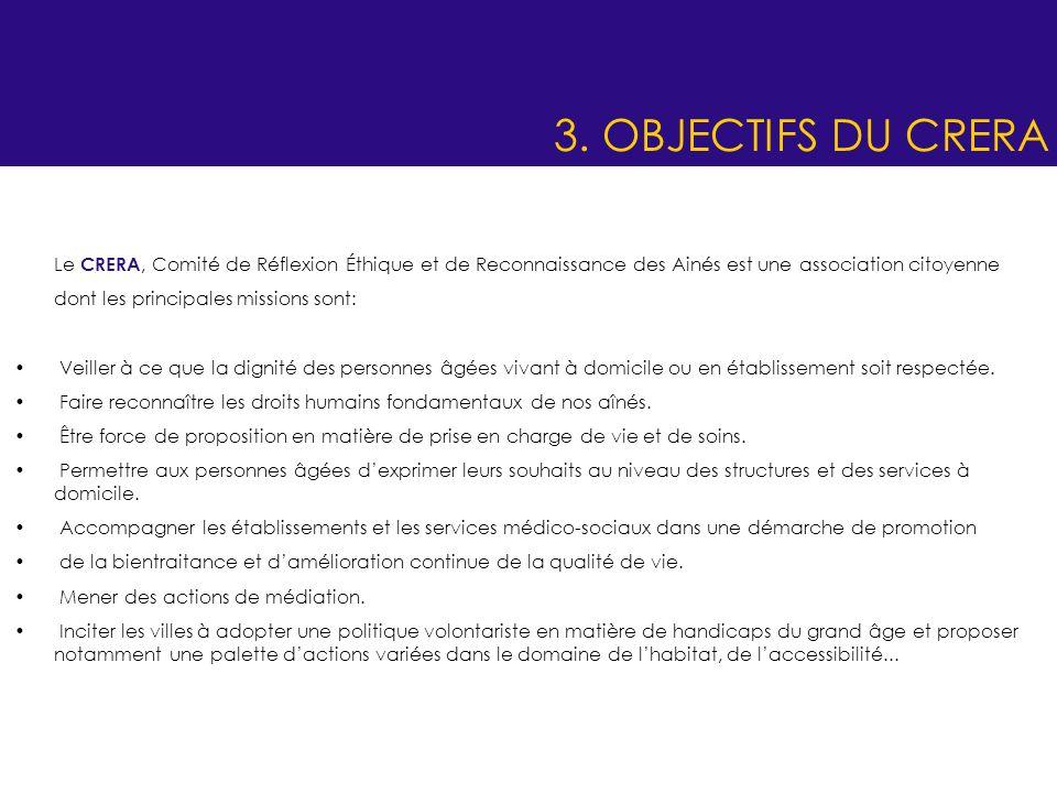 3. OBJECTIFS DU CRERA Le CRERA, Comité de Réflexion Éthique et de Reconnaissance des Ainés est une association citoyenne.