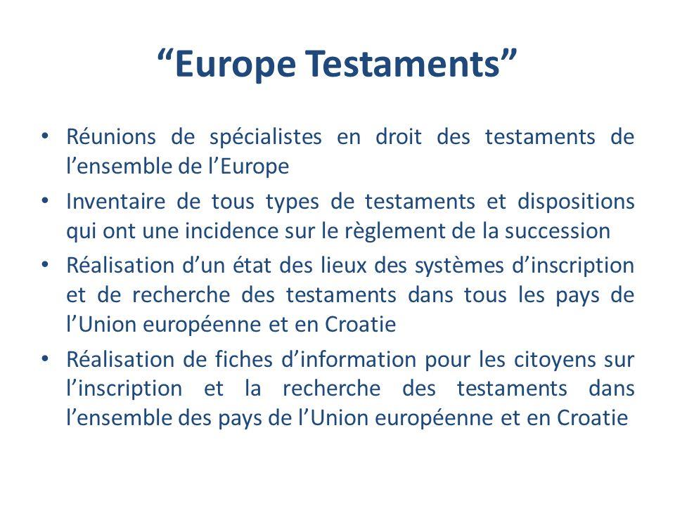 Europe Testaments Réunions de spécialistes en droit des testaments de l'ensemble de l'Europe.