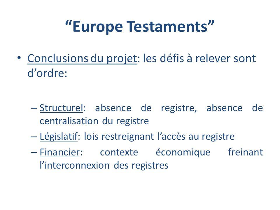 Europe Testaments Conclusions du projet: les défis à relever sont d'ordre: Structurel: absence de registre, absence de centralisation du registre.
