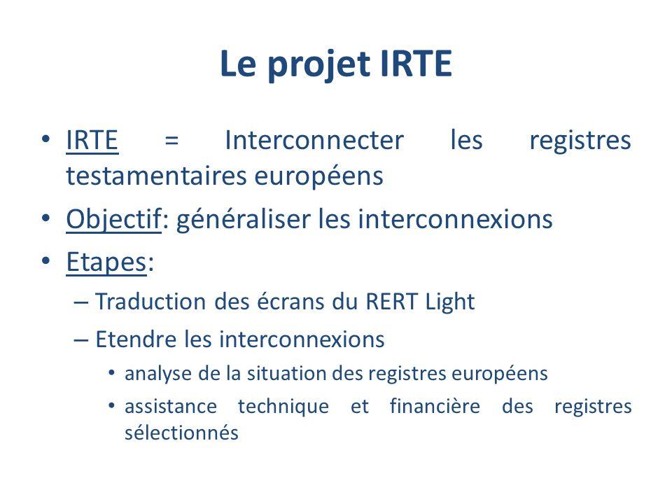 Le projet IRTE IRTE = Interconnecter les registres testamentaires européens. Objectif: généraliser les interconnexions.