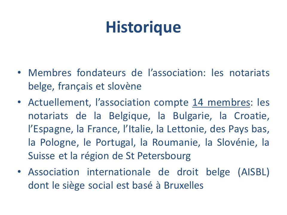 Historique Membres fondateurs de l'association: les notariats belge, français et slovène.