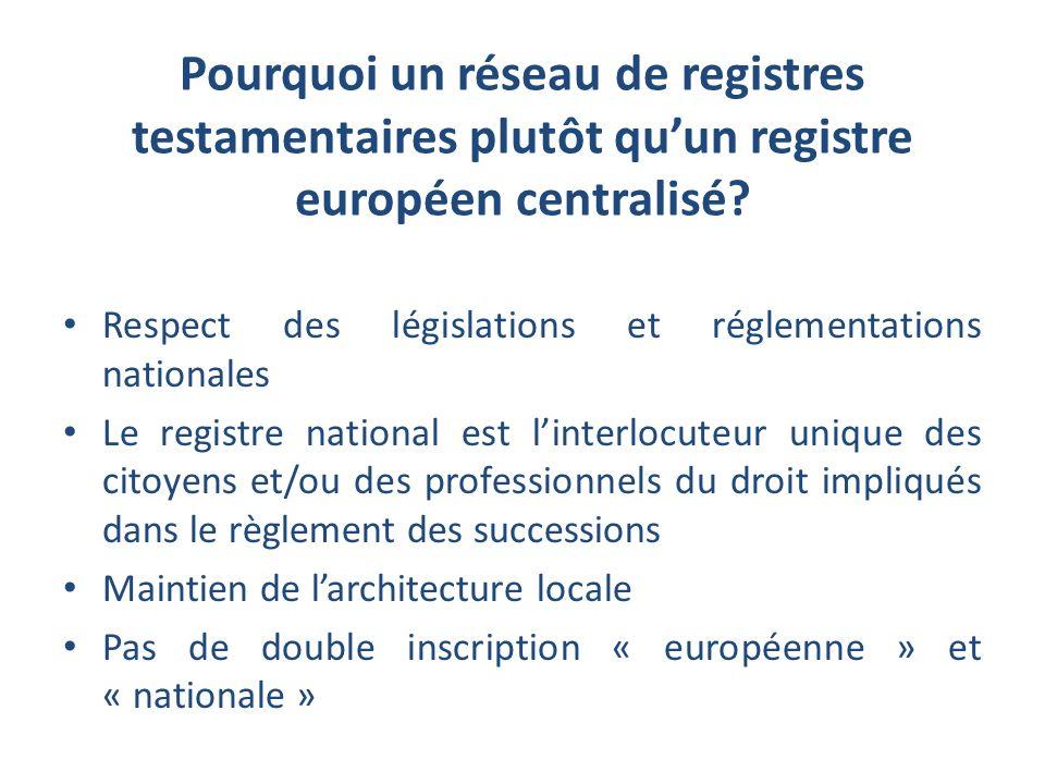 Pourquoi un réseau de registres testamentaires plutôt qu'un registre européen centralisé
