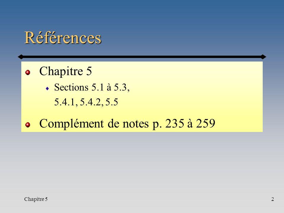 Références Chapitre 5 Complément de notes p. 235 à 259