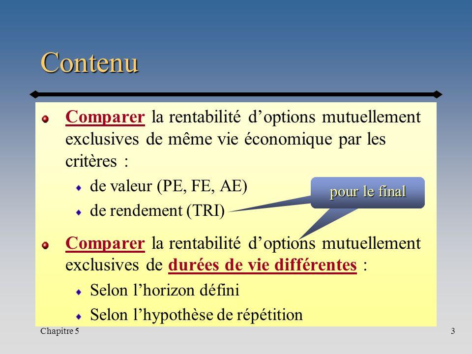 Contenu Comparer la rentabilité d'options mutuellement exclusives de même vie économique par les critères :