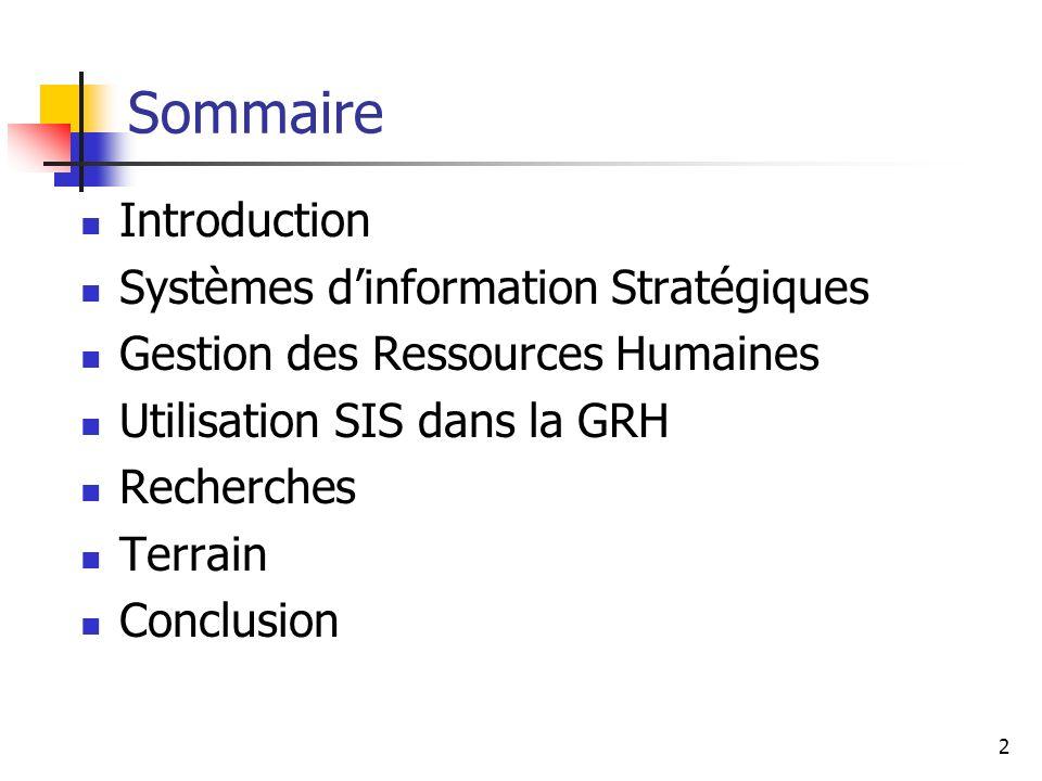 Sommaire Introduction Systèmes d'information Stratégiques