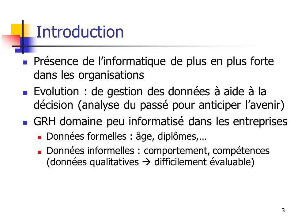 Introduction Présence de l'informatique de plus en plus forte dans les organisations.
