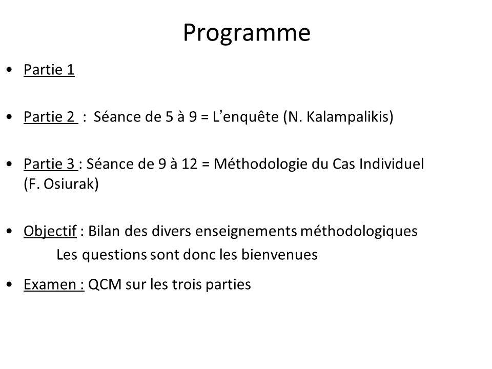 Programme Partie 1. Partie 2 : Séance de 5 à 9 = L'enquête (N. Kalampalikis)