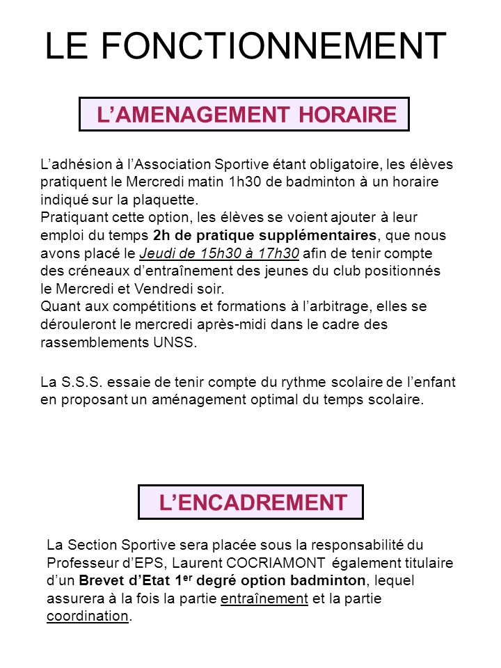 L'AMENAGEMENT HORAIRE