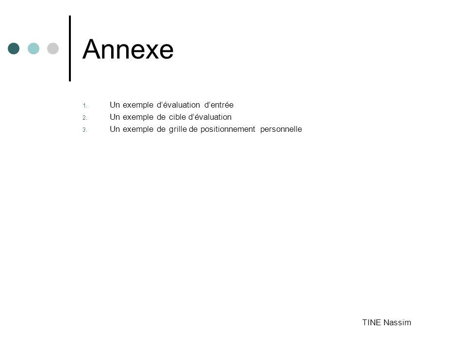 Annexe Un exemple d'évaluation d'entrée