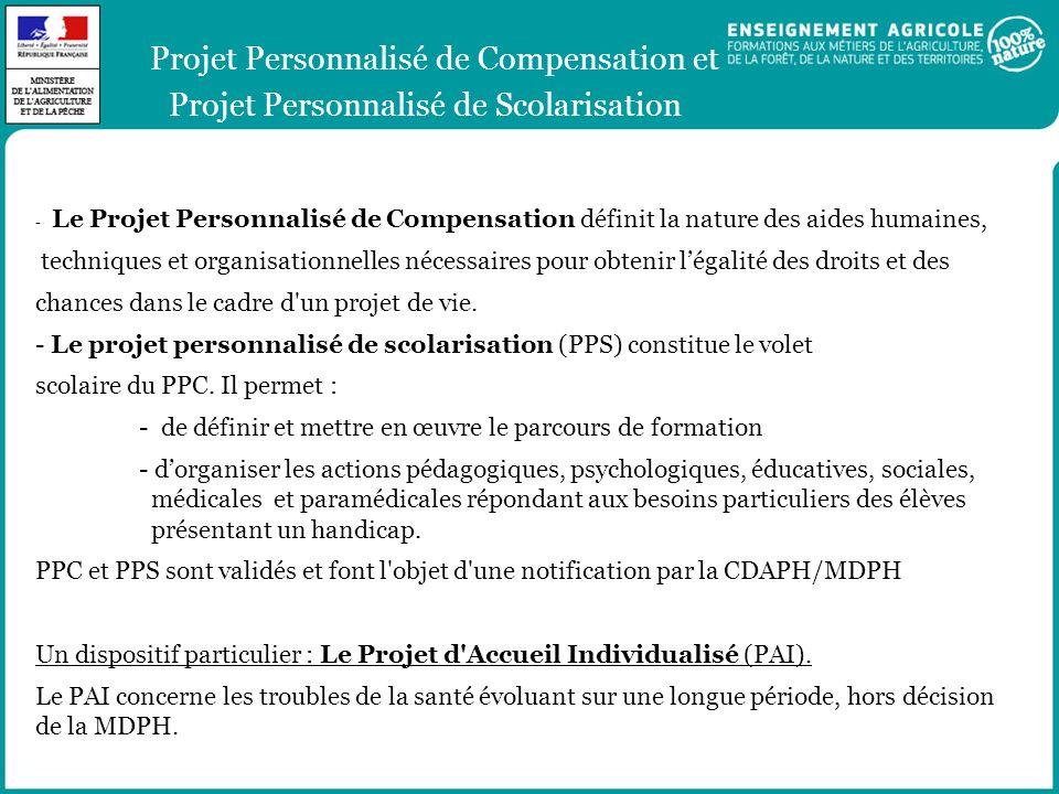 Projet Personnalisé de Compensation et Projet Personnalisé de Scolarisation