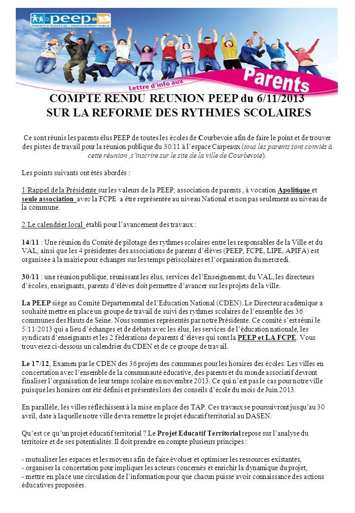 Parents COMPTE RENDU REUNION PEEP du 6/11/2013