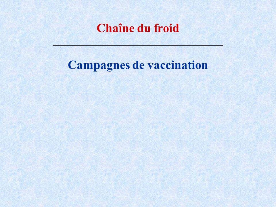 Chaîne du froid _____________________________________ Campagnes de vaccination