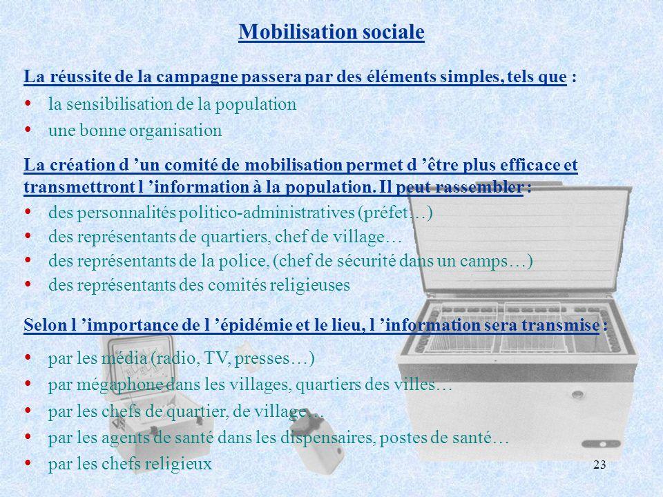 Mobilisation sociale La réussite de la campagne passera par des éléments simples, tels que : la sensibilisation de la population.