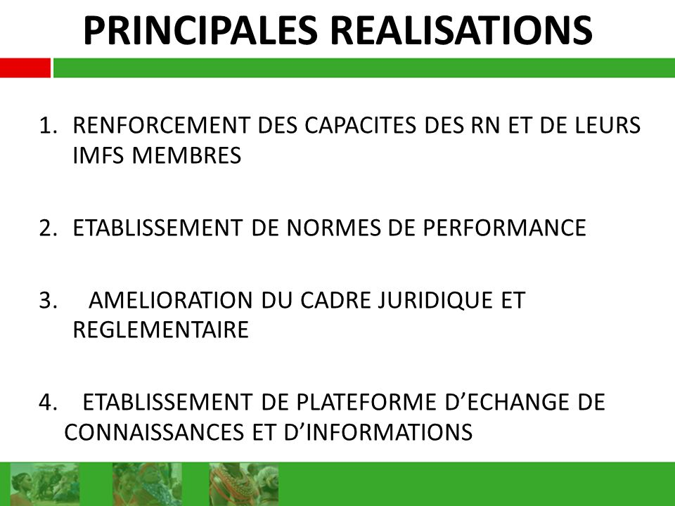 PRINCIPALES REALISATIONS