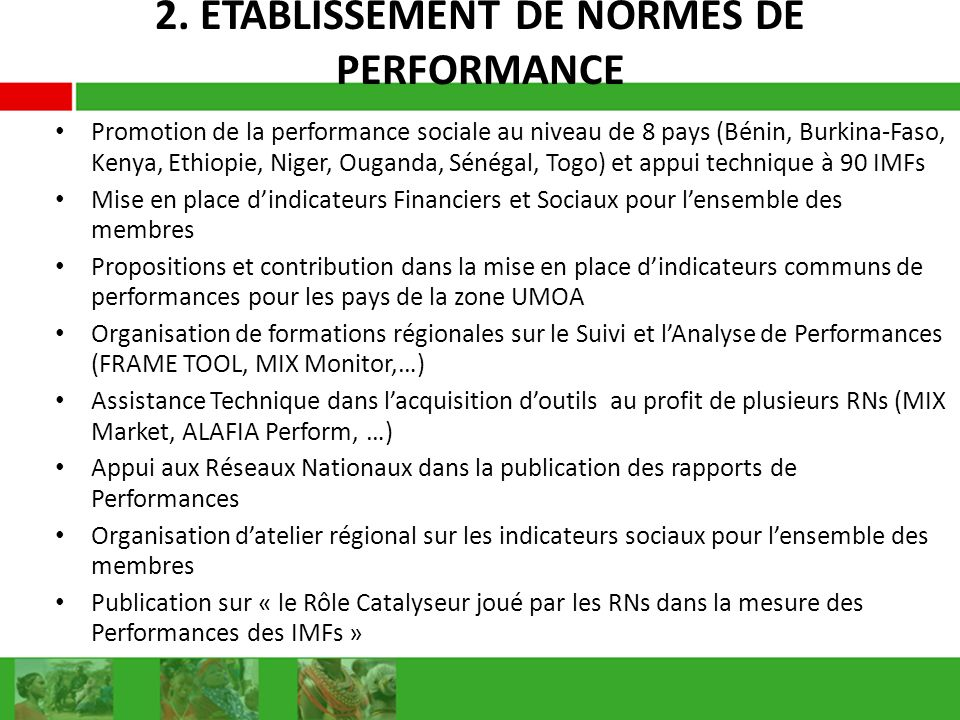 2. ETABLISSEMENT DE NORMES DE PERFORMANCE