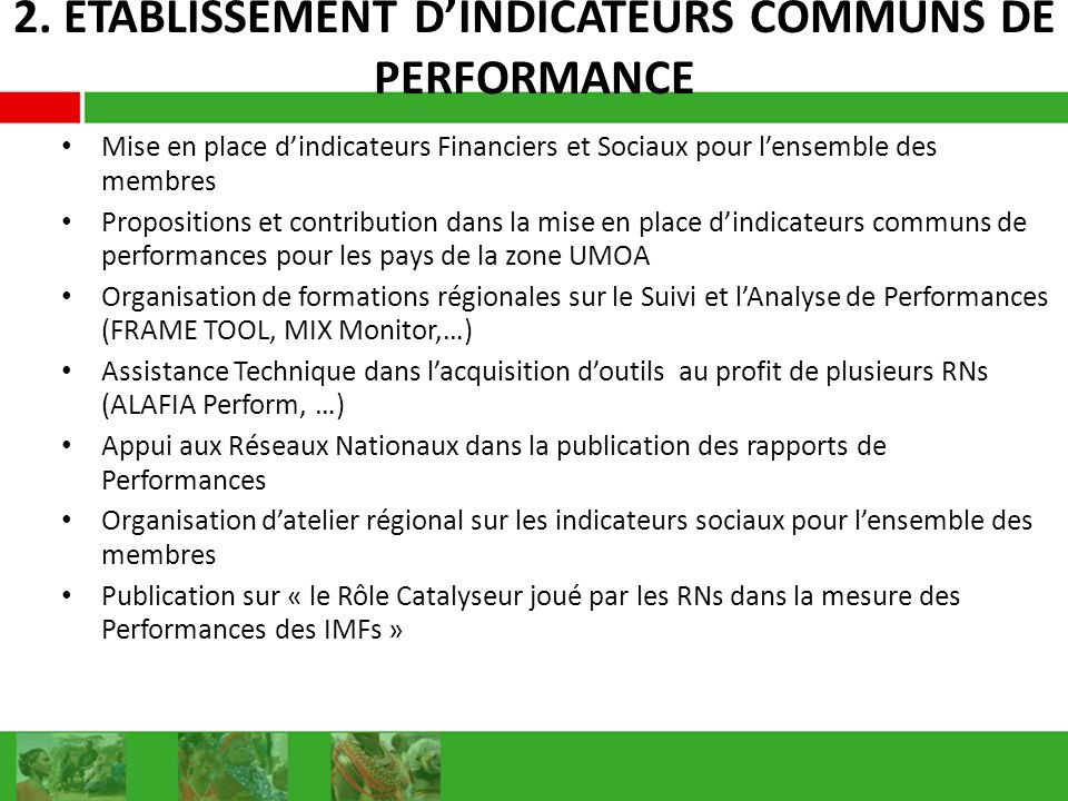 2. ETABLISSEMENT D'INDICATEURS COMMUNS DE PERFORMANCE