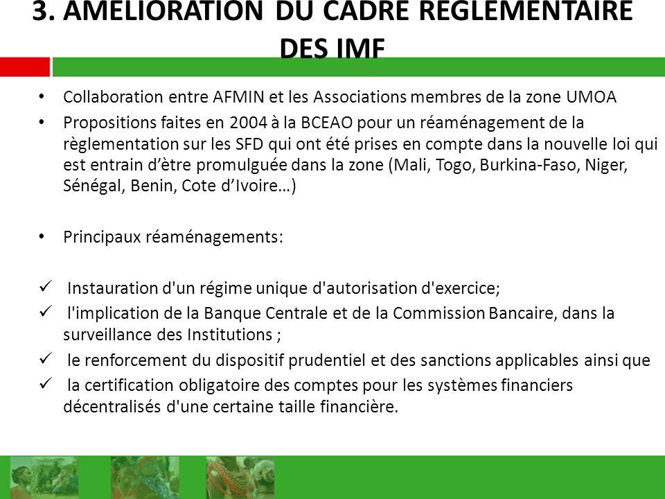 3. AMELIORATION DU CADRE REGLEMENTAIRE DES IMF