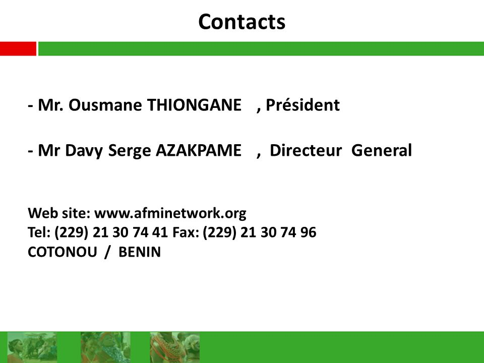 Contacts - Mr. Ousmane THIONGANE , Président