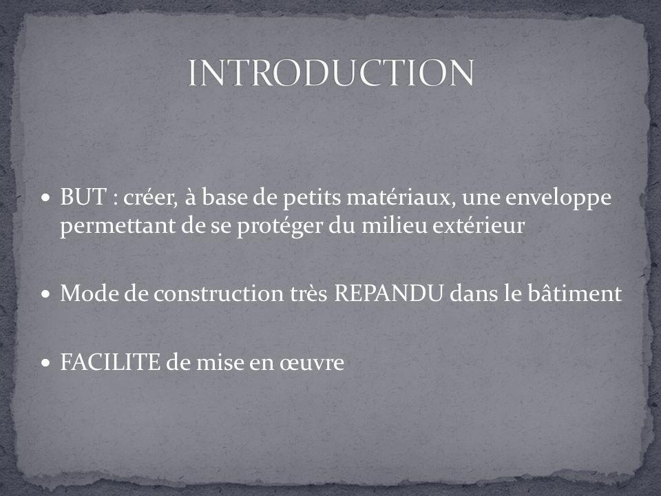 INTRODUCTION BUT : créer, à base de petits matériaux, une enveloppe permettant de se protéger du milieu extérieur.