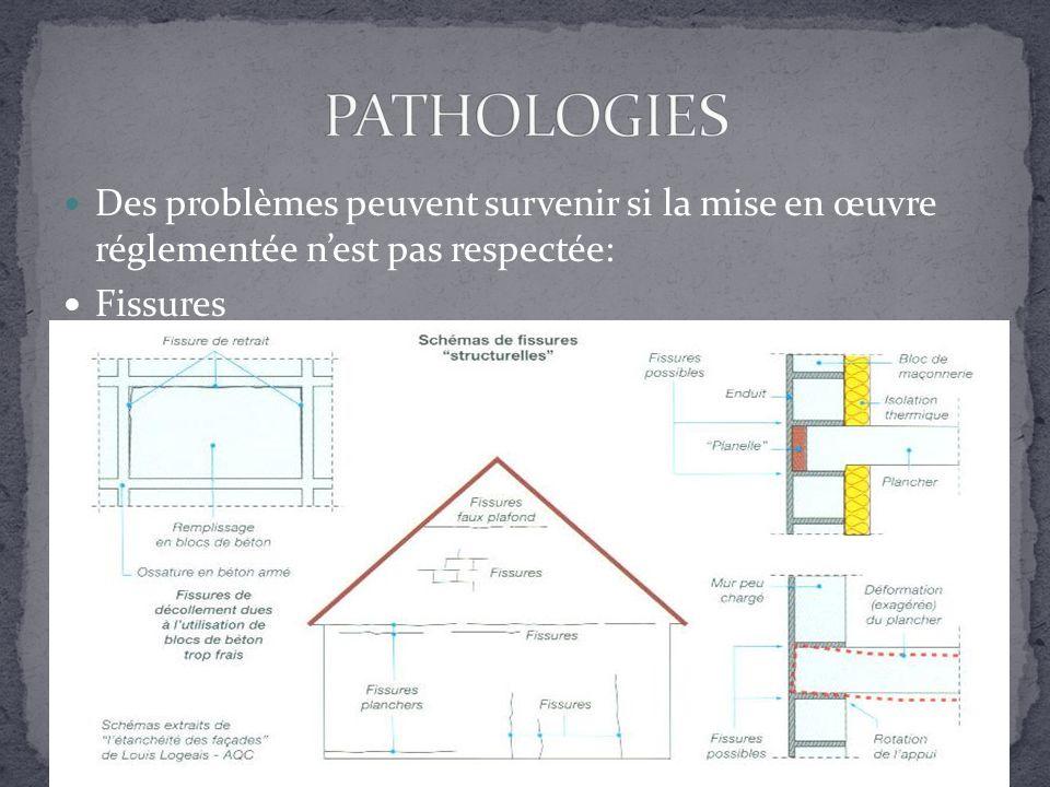 PATHOLOGIES Des problèmes peuvent survenir si la mise en œuvre réglementée n'est pas respectée: Fissures.