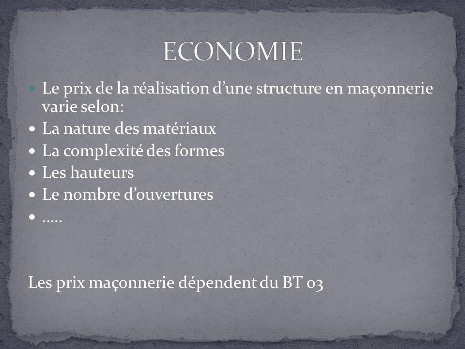 ECONOMIE Le prix de la réalisation d'une structure en maçonnerie varie selon: La nature des matériaux.