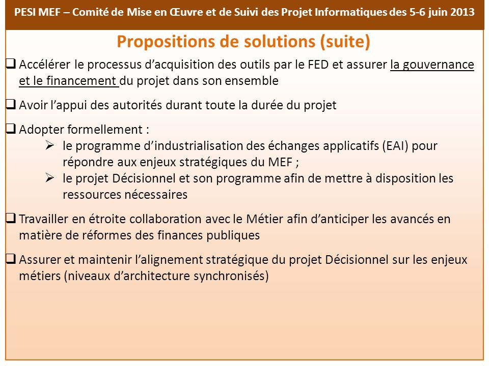 Propositions de solutions (suite)