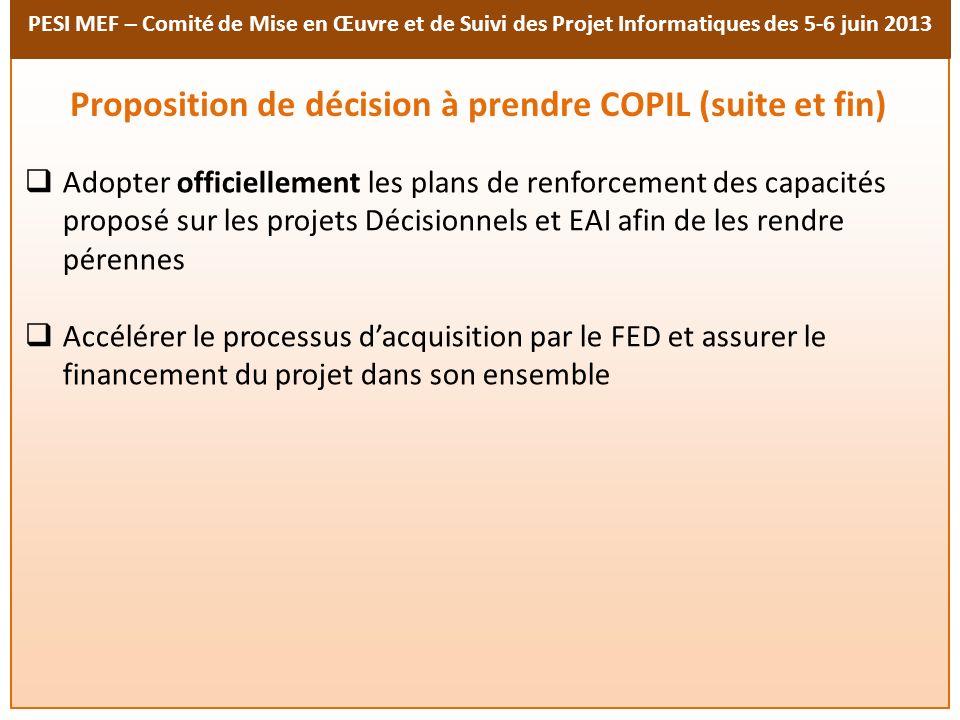 Proposition de décision à prendre COPIL (suite et fin)