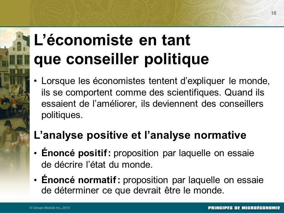 L'économiste en tant que conseiller politique