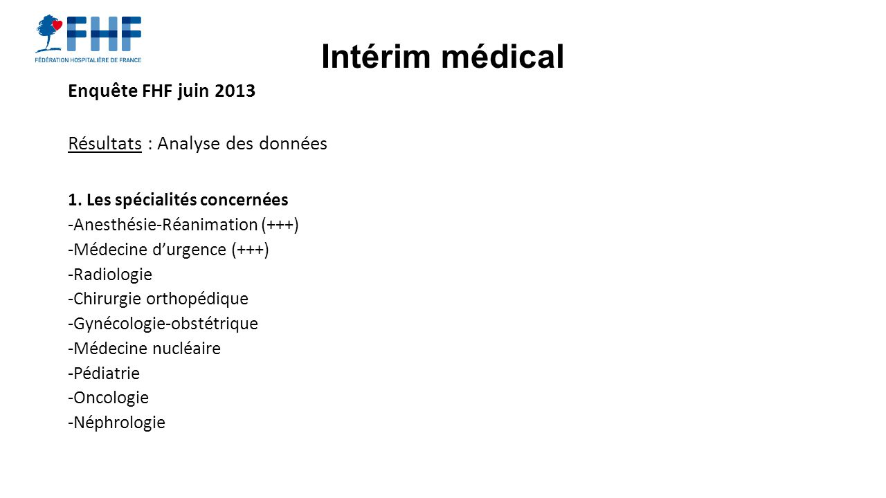 Intérim médical Enquête FHF juin 2013 Résultats : Analyse des données