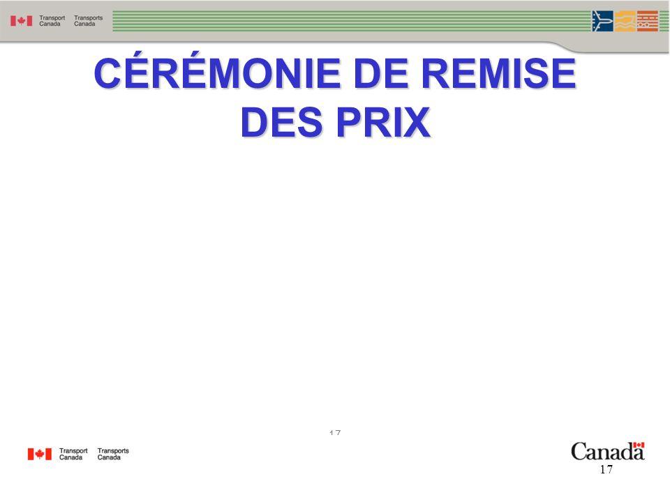 CÉRÉMONIE DE REMISE DES PRIX